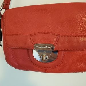 Calvin Klein Red Leather Cross body Bag